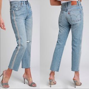 LEVIS 501 HIGH WAISTED RHINESTONE CROP JEANS